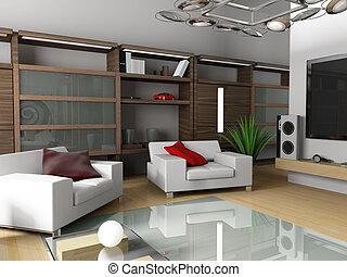 appartement, intérieur, moderne