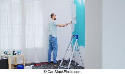 appartement, mur, peinture