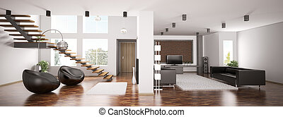 appartement, panorama, 3d