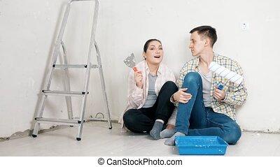 appartement, professionnel, bloggers, processus, décrire, rénovation