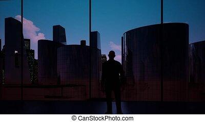 appartement terrasse, homme, coucher soleil, regarder, métrage