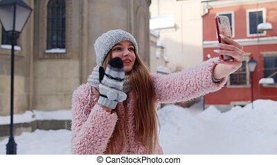 appeler, confection, téléphone, touriste, vidéo, bavarder, mobile, amis, blogger, communication, girl, distance