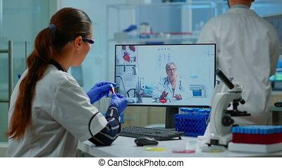 appeler, docteur, vidéo, scientifique, professionnel, écoute