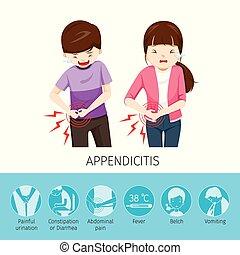 appendicite, garçon, girl, because, mal ventre