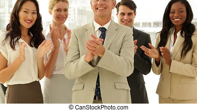 applaudir, équipe, business, sourire, appareil photo