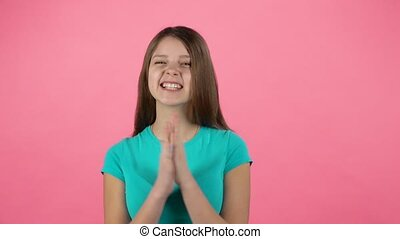 applaudir transmet, girl, elle, rire, studio., ralenti
