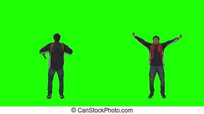 applaudissement, écran, ventilateur, vert, sports