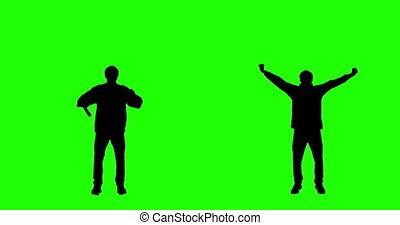 applaudissement, écran, ventilateur, vert