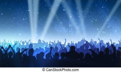 applaudissement, foule, étoiles, sous
