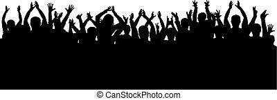 applaudissements, silhouette, concert, foule, isolé