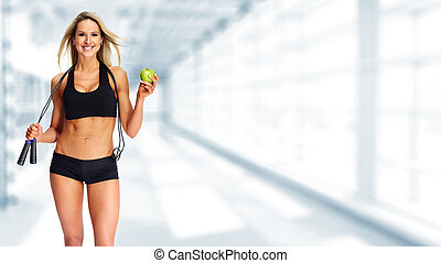 apple., femme, jeune, fitness