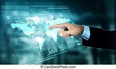 application, écran, virtuel, internet