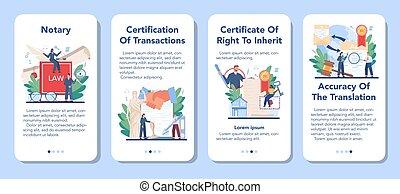application, avocat, notary, professionnel, set., bannière, signer, mobile, service