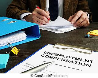application, chômage, commis, compensation, papers.