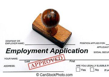 application, emploi, -, approuvé