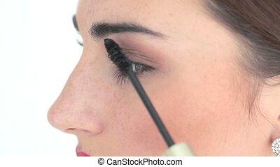 application maquillage, artiste, mascara
