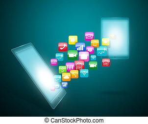 application, touchscreen, icônes