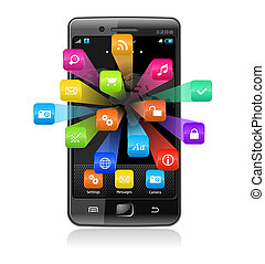 application, touchscreen, smartphone, icônes