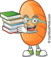 apporter, délicieux, étudiant, livre, pain, caractère, long