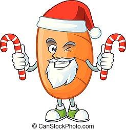 apporter, santa, délicieux, bonbon, pain, caractère, long