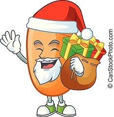 apporter, santa, délicieux, pain, cadeau, caractère, long