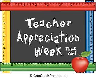 appréciation, semaine, pomme, prof