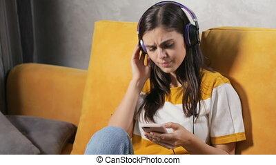 apprécie, musique, girl, écouteurs