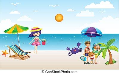 apprécier, étranger, plage, famille