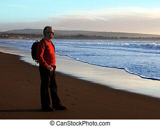 apprécier, coucher soleil, homme, océan