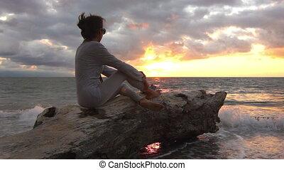 apprécier, coucher soleil