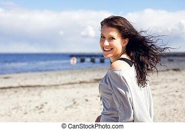 apprécier, femme, plage, promenade