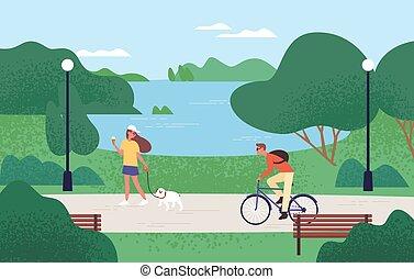 apprécier, forêt, marche, gens, chien, bike., vecteur, crème, équitation, parc, extérieur, été, manger, plat, glace, femme, activités, homme, récréatif, beau, paysage, illustration., décontracté, naturel