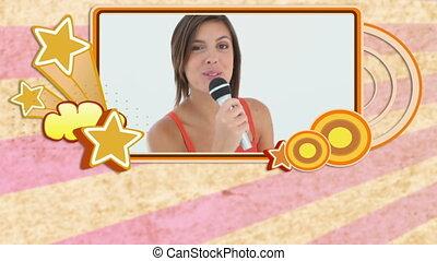 apprécier, gens, montage, karaoke
