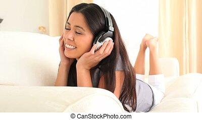 apprécier, musique, mignon, quelques-uns, femme