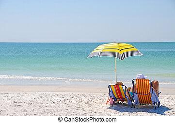 apprécier, plage, jour
