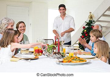 apprécier, repas noël, table haute, famille