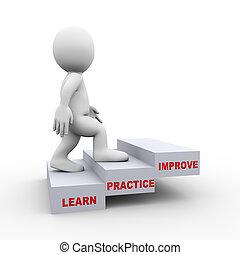 apprendre, améliorer, 3d, homme, étapes, pratique