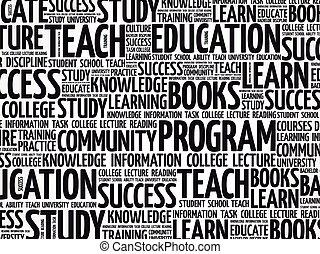 apprendre, concept, mot, nuage, fond, collage, education