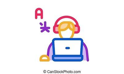 apprendre, humain, étranger, animation, icône, langue