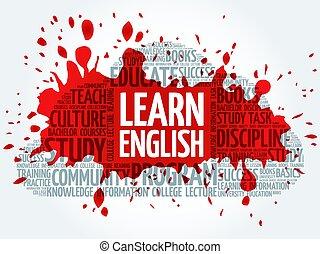 apprendre, mot, nuage, anglaise