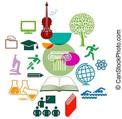 apprentissage, -, illustration.eps, vecteur, ensemble, icône