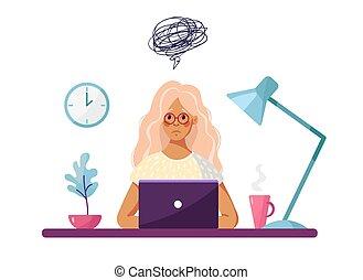 apprentissage, individu-douter, ordinateur portable, assied, illustration, ou, dessin animé, fatigue., girl, conceptuel, vecteur, jeune, arrière-plan., triste, sur, blanc, table, sent, burnout, problèmes, isolé, depressed.