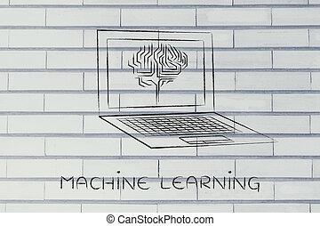 apprentissage, ordinateur portable, écran, machine, cerveau, circuit