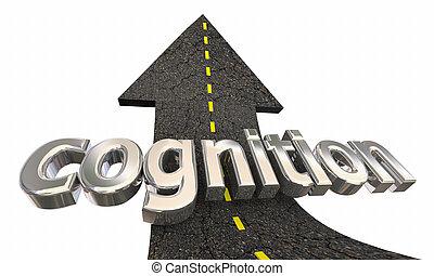 apprentissage, reussite, connaissance, haut, illustration, flèche, education, route, 3d