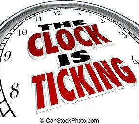 approchant, date limite, mots, coutil, horloge