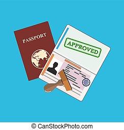 approuvé, passeport, stamp.
