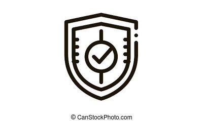 approuvé, protection, bouclier, marque, garde, icône, animation