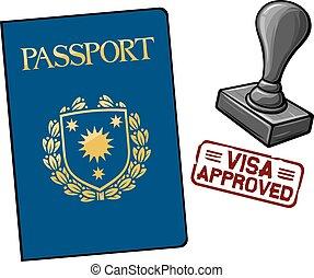 approuvé, -, visa, passeport