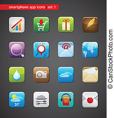 apps, collection, icônes