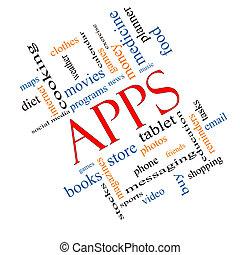 apps, concept, mot, nuage, incliné